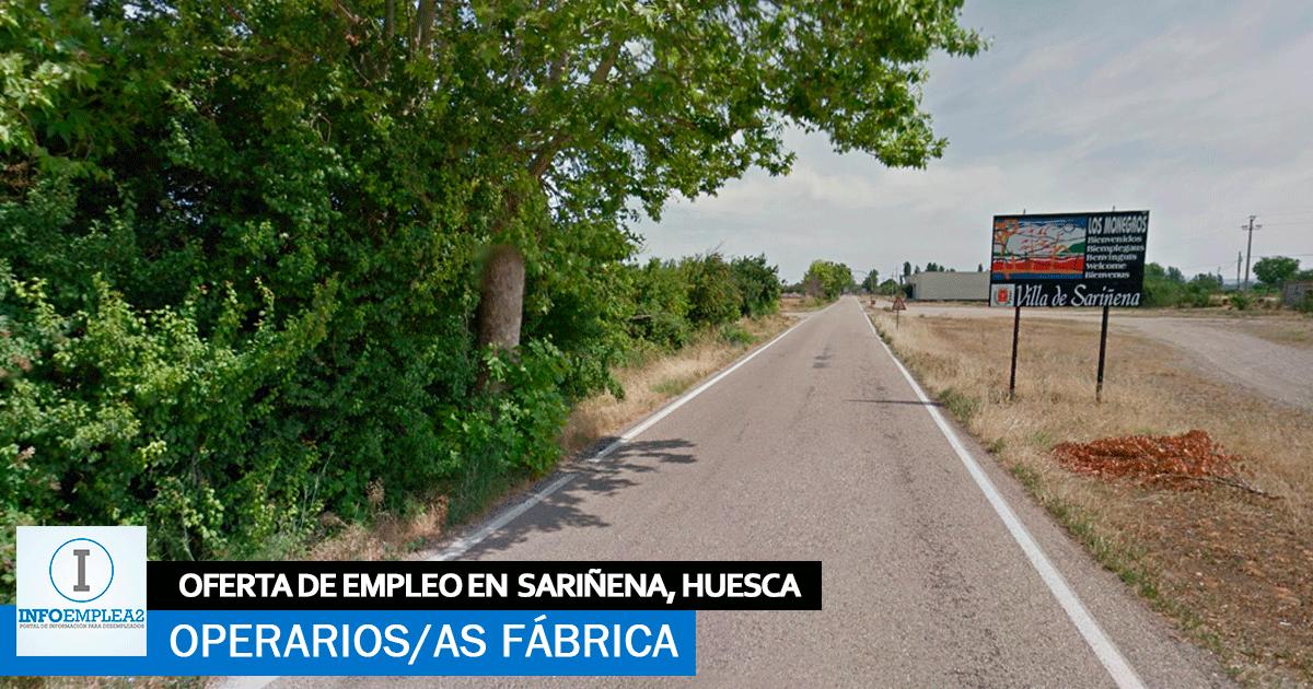 Se necesita Operarios/as para Fábrica en Sariñena, Huesca