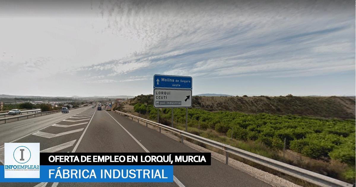 Se necesita Personal para Fábrica en Lorquí, Murcia