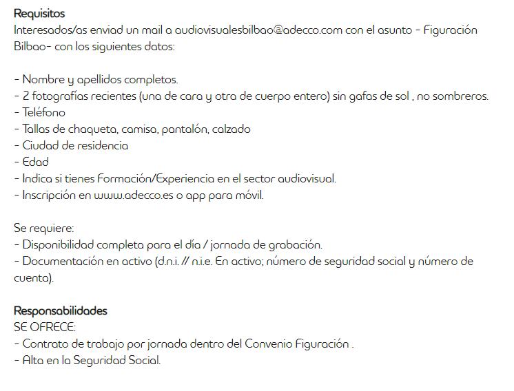 requisitos y documentación para participar como figurante en Bilbao