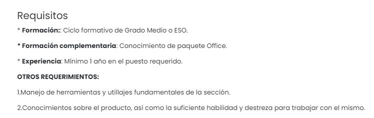 Requisitos para trabajar en el Grupo MAS situado en Alcaudete, Jaén