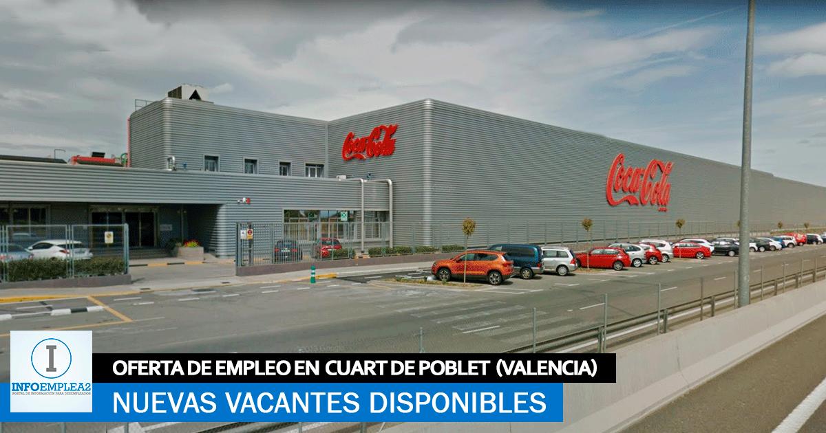 Se necesita Personal en Cuart de Poblet (Valencia) para trabajar en la fábrica de Coca Cola