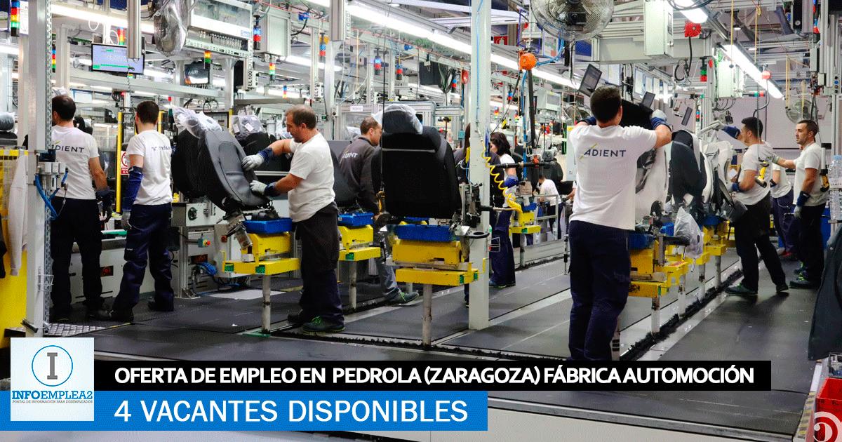 Se Necesita Personal en Pedrola (Zaragoza) para Fábrica Automoción