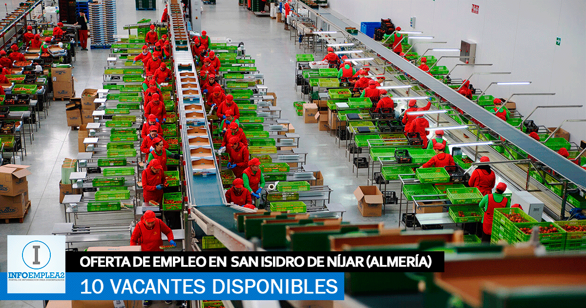 Se necesitan 10 Trabajadores en San Isidro de Níjar (Almería) para Fábrica de Envasado