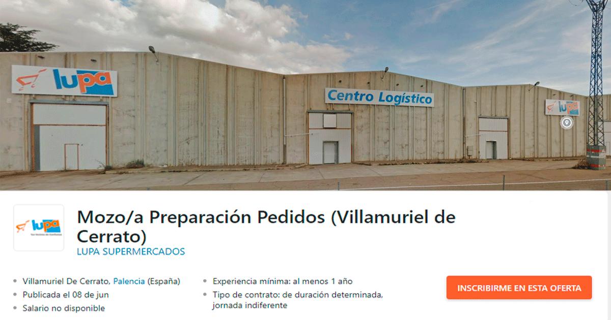 Se Necesitan 30 personas para trabajar en el Centro Logístico de LUPA Supermercados ubicado en Villamuriel de Cerrato, Palencia