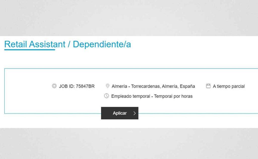 Descripción oferta de empleo Primark en Torrecárdenas
