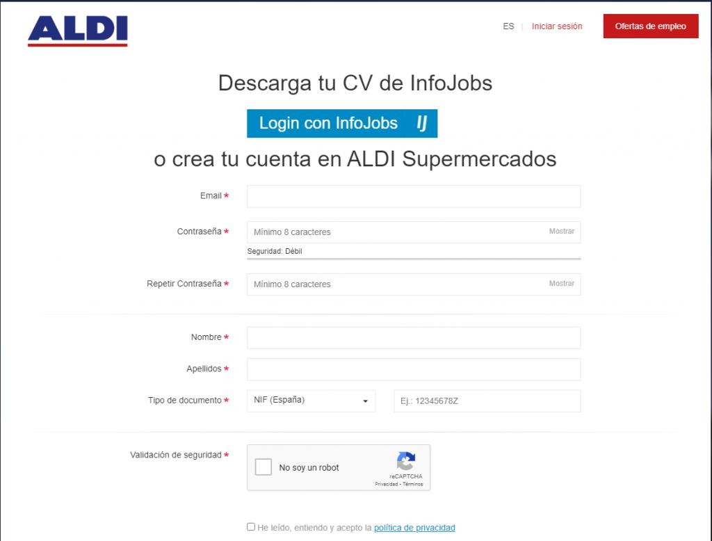 Formulario de acceso al portal de empleo de Aldi