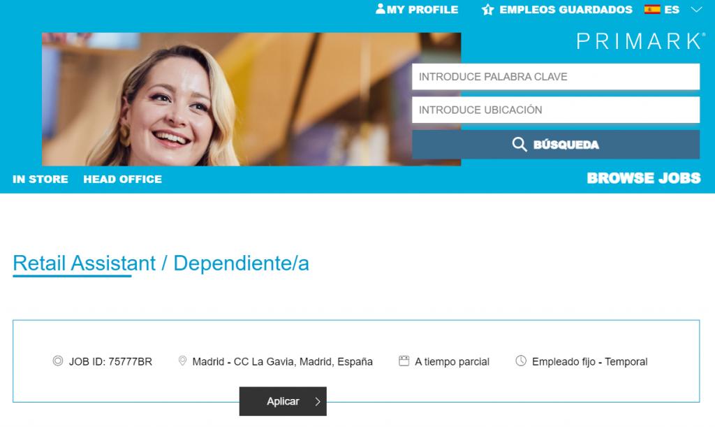 Formulario de empleo Primark en Centro Comercial La Gavia